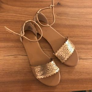 Worn once rose gold strappy sandals